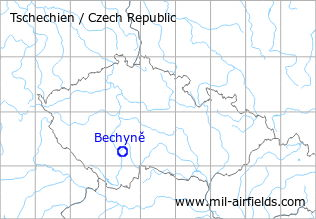 Map with location of Bechyně Air Base, Czech Republic