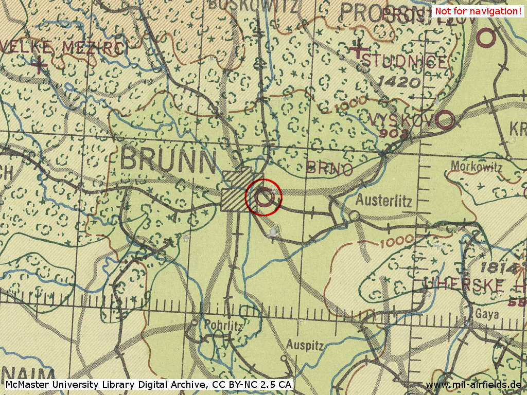 Brno Slatina Airfield, Czechia, on a map 1943
