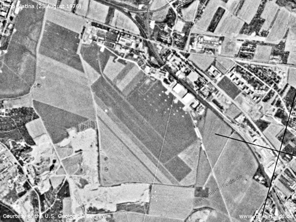 Brno Slatina Airfield, Czechia, on a US satellite image 1976