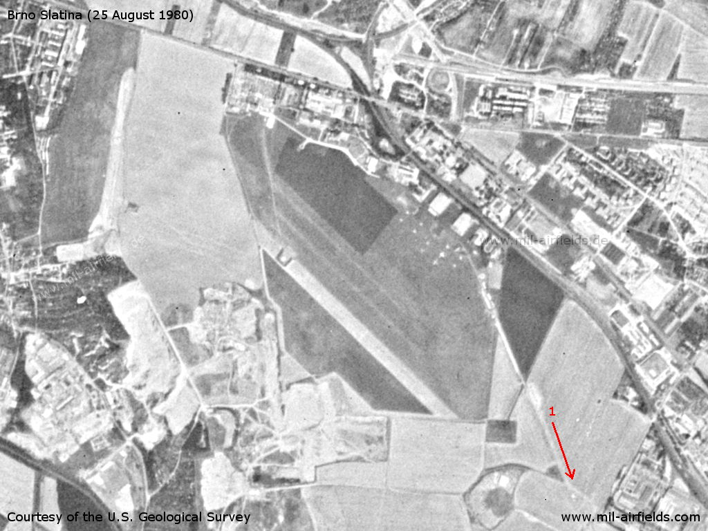 Brno Černovice Slatina Airfield, Czech Republic, on a US satellite image 1989