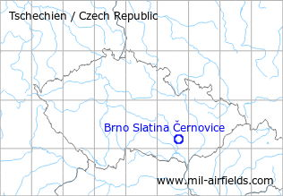 Map with location of Brno Černovice Slatina Airfield