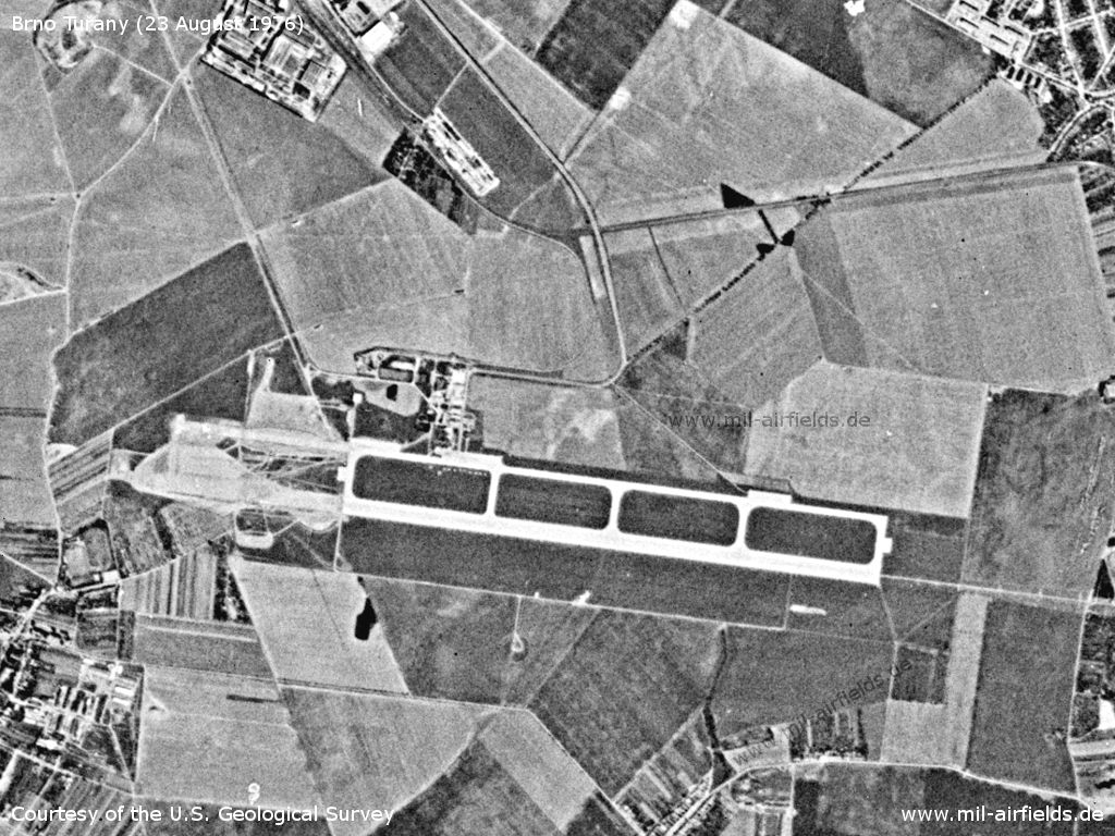 Brno Tuřany Airport, Czechia, on a US satellite image 1976