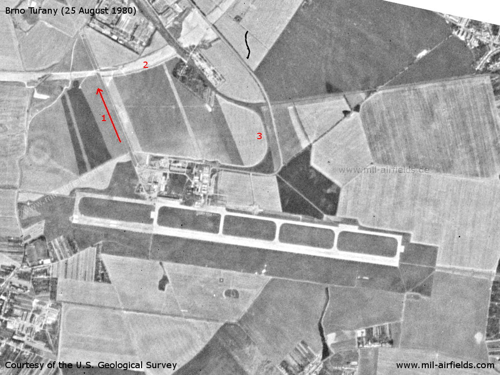 Brno Tuřany Airport, Czech Republic, on a US satellite image 1980