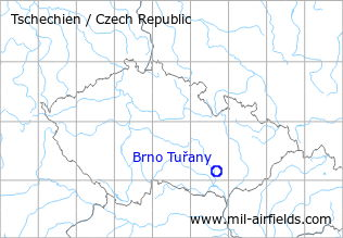 Map with location of Brno Tuřany Airport