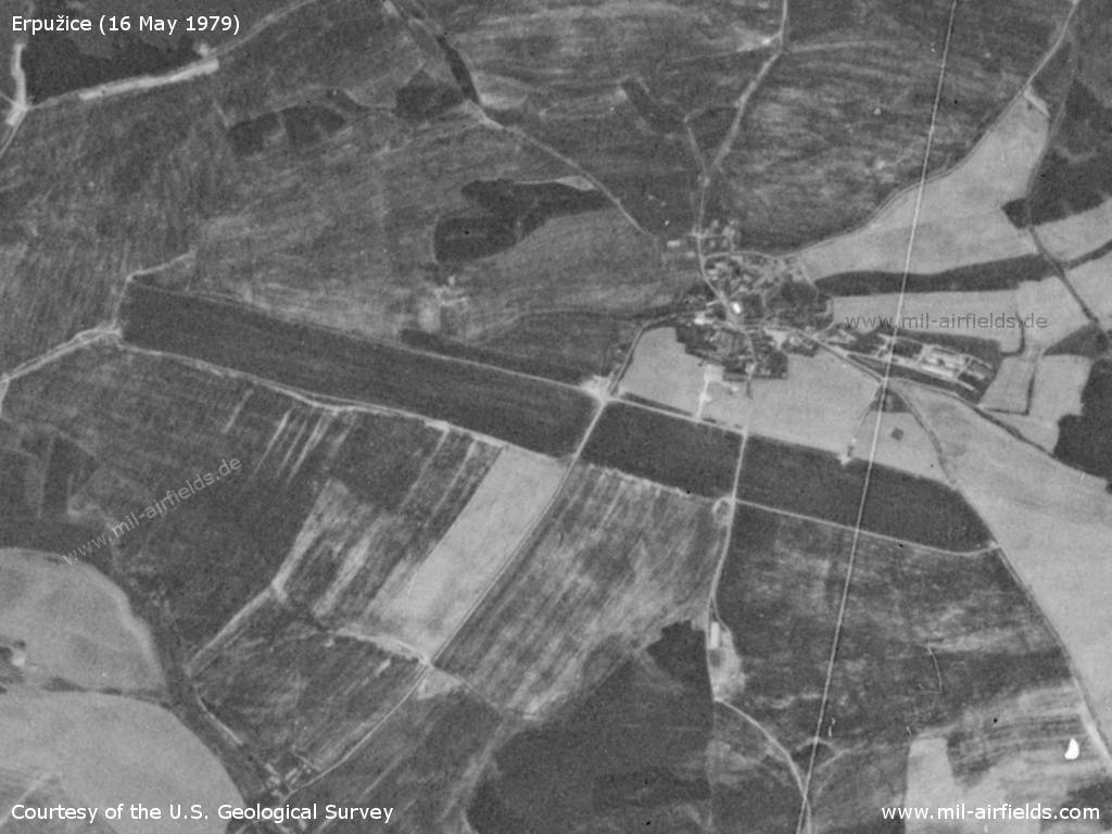 Erpužice Airfield, Czech Republic, on a US satellite image 1979