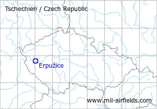 Map with location of Erpužice Airfield, Czech Republic
