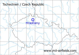 Map with location of Hradčany/Mimon Air Base, Czech Republic