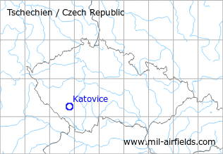 Map with location of Katovice Airfield, Czech Republic