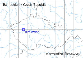 Map with location of Kralovice Airfield, Czech Republic