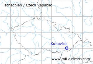 Map with location of Kunovice Airfield, Czech Republic