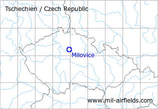 Map with location of Milovice Air Base, Czech Republic