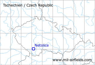 Map with location of Netolice Airfield, Czech Republic