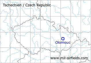 Map with location of Olomouc Neředín Airfield, Czech Republic