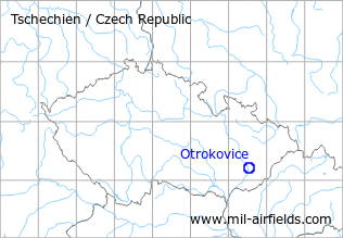Map with location of Otrokovice Airfield, Czech Republic