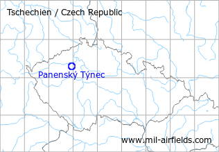 Map with location of Panenský Týnec Airfield, Czech Republic