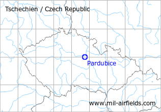 Map with location of Pardubice Air Base, Czech Republic