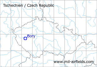Map with location of Bory Heliport, Czech Republic