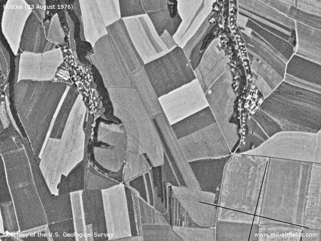 Polička Airfield, Czech Republic, on a US satellite image 1976