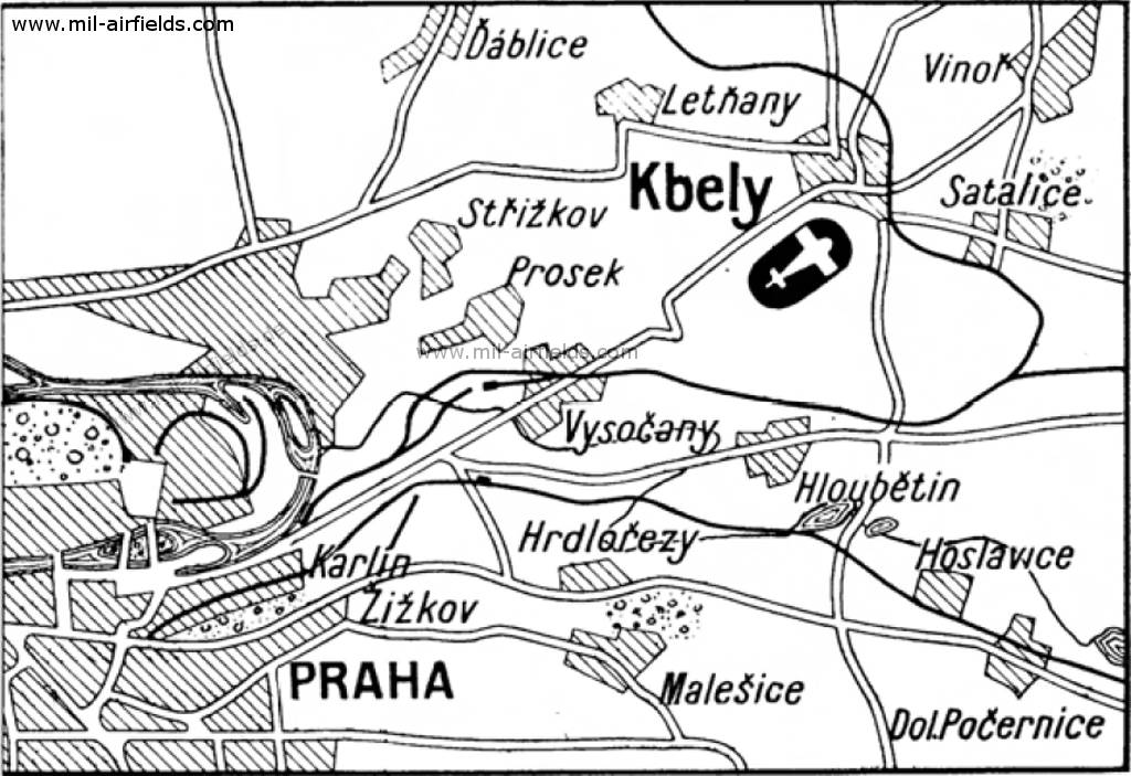 Map with Prague Kbely Airport 1931