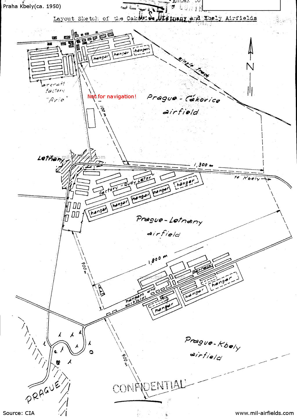 Sketch of the three adjoining airfields Praha Čakovice, Letňany and Kbely