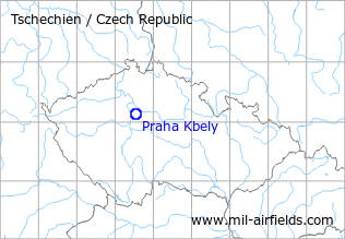 Map with location of Prague Kbely Air Base, Czech Republic