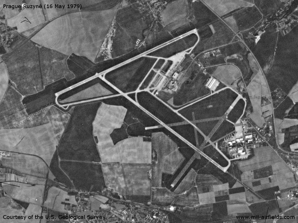 Praha Ruzyně Airport, Germany, on a US satellite image 1979