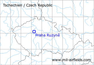 Map with location of Praha Ruzyně Airport, Czech Republic