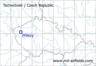 Map with location of Přílezy Airfield, Czech Republic