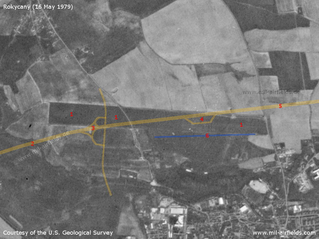 Rokycany Airfield, Czech Republic, on a US satellite image 1979