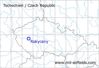 Map with location of Rokycany Airfield, Czech Republic