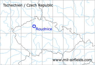 Map with location of Roudnice nad Labem Airfield, Czech Republic