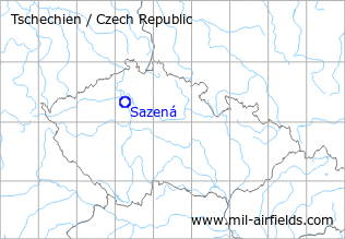 Map with location of Sazená Airfield, Czech Republic