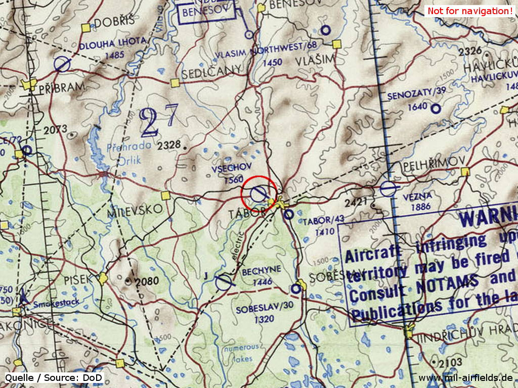 Tábor Airfield on a map 1973