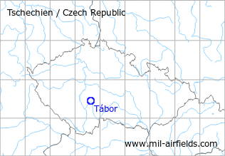 Map with location of Tábor Airfield, Czech Republic