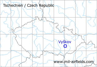 Map with location of Vyškov Airfield, Czech Republic