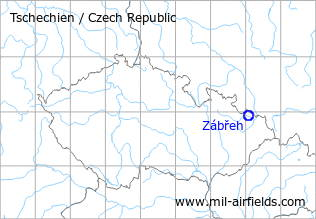 Map with location of Zábřeh Airfield, Czech Republic