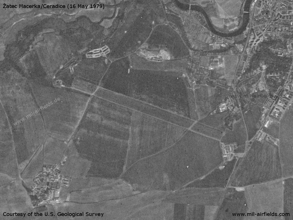 Žatec Macerka Airfield, Germany, on a US satellite image 1979