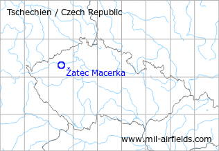 Map with location of Žatec Macerka Airfield, Czech Republic