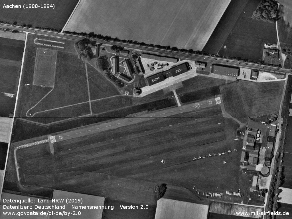 Aachen airfield, Germany: Aerial picture from the late 1980s or early 1990s