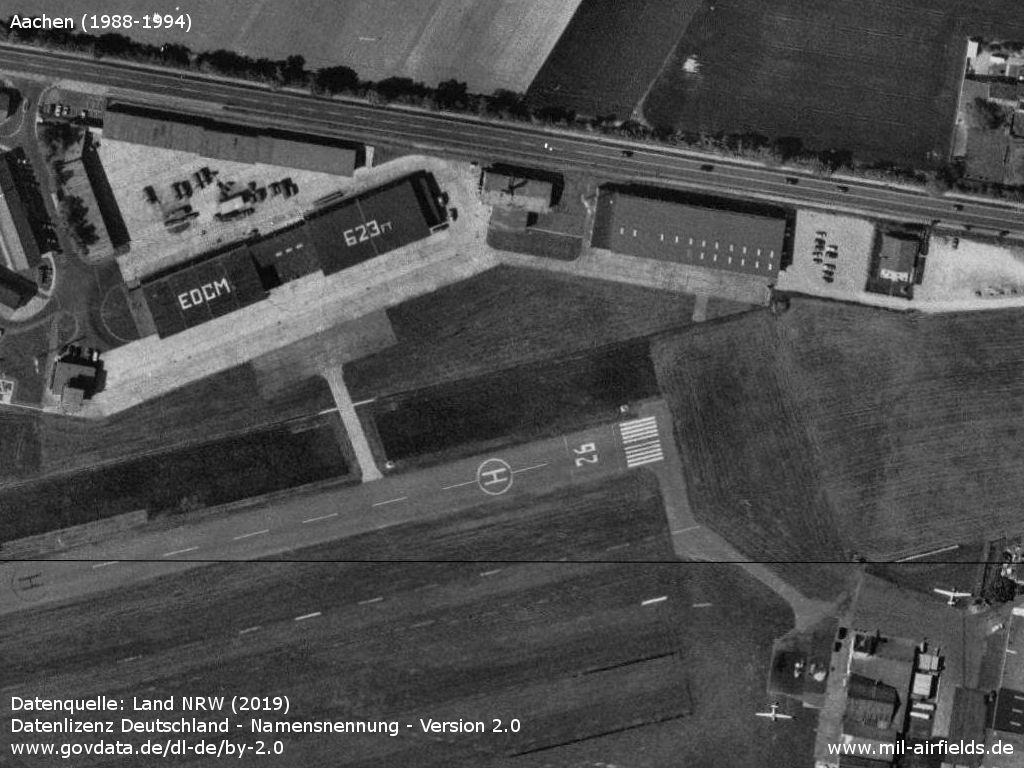 Airfield of the Belgian armed forces in the north with control tower and hangars