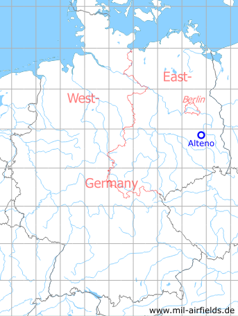 Map with location of Alteno Airfield, Germany