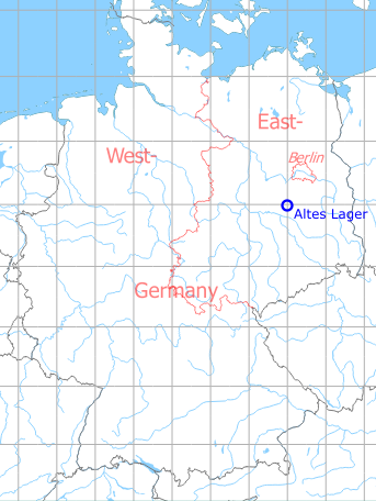 Map with location of Jüterbog Altes Lager Air Base