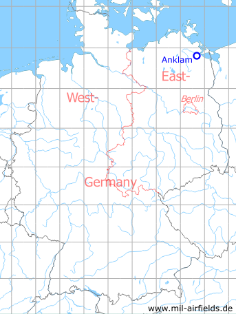Map with location of Anklam Airfield, Germany