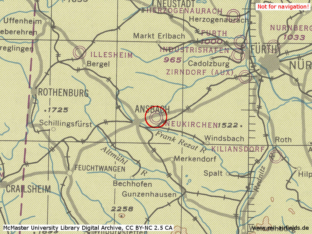 Ansbach Air Base (Fliegerhorst) in World War II on a US map 1944