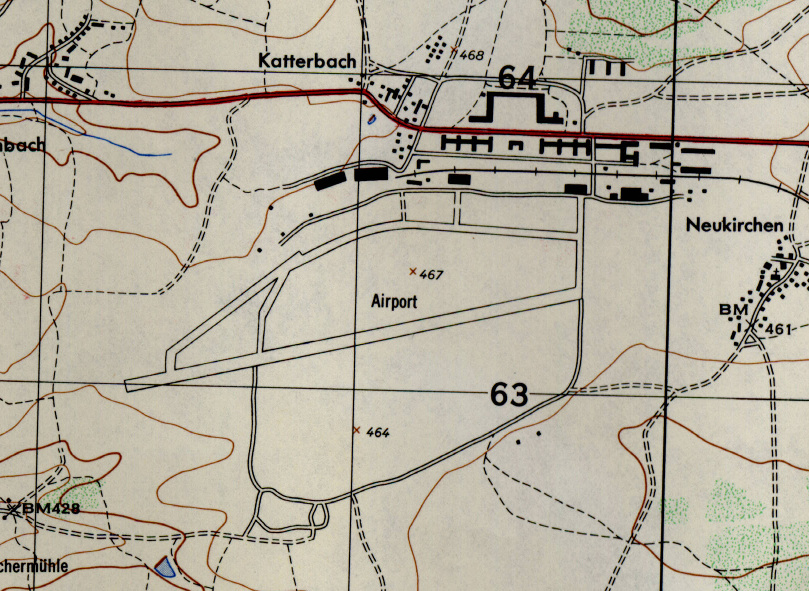 Ansbach airfield on a US map 1953