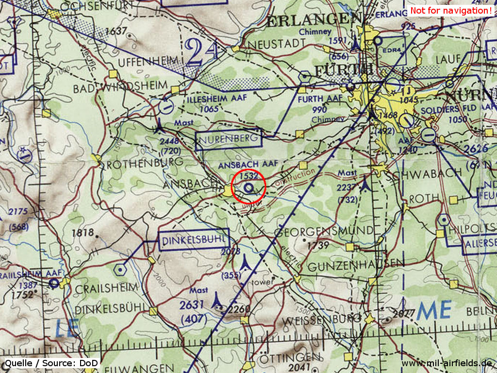 Katterbach Germany Map.Ansbach Army Airfield Military Airfield Directory