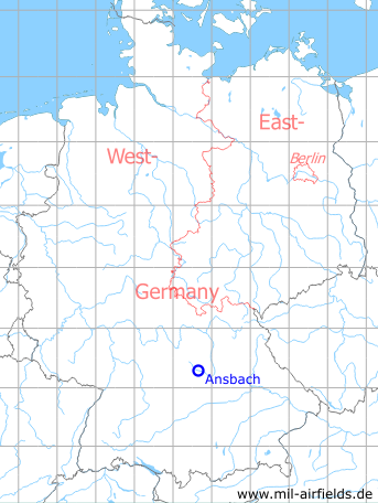 Map with location of Ansbach Army Airfield / Heliport, Germany