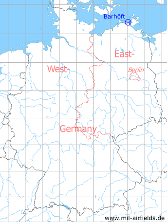 Map with location of Barhöft Helipad 3318, former East Germany
