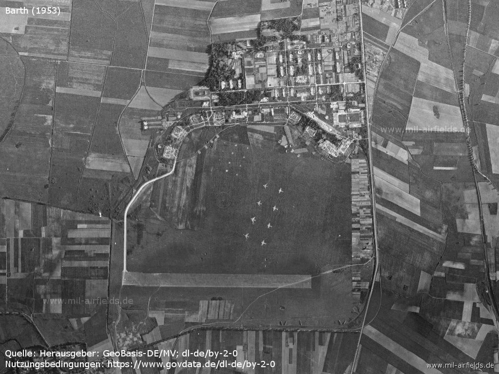 Aerial picture Barth Airfield, East Germany 1953