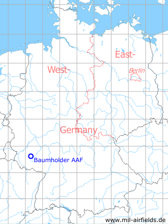 Map with location of Baumholder Army Airfield AAF, Germany